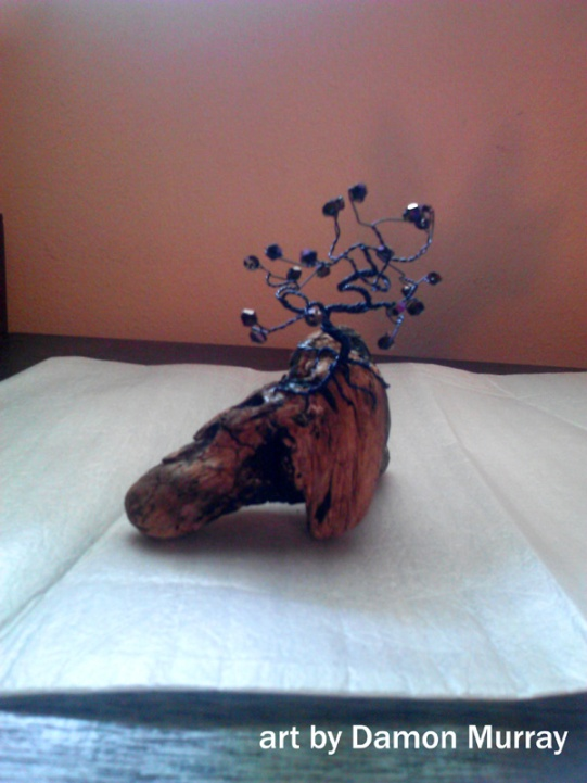 wire, bead and driftwood small sculpture of a purple tree