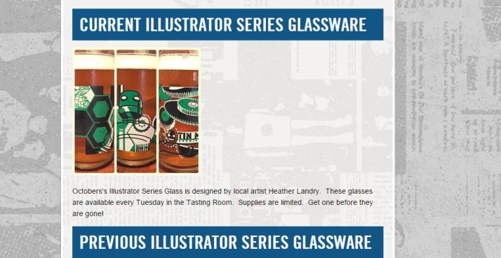 A sassy green black and white robot adorns these limited October Illustrator glasses at Tin Man Brewery in Evansville IN