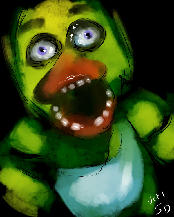 sketch of Chica duck from the terrifying 5 Nights at Freddy's video game