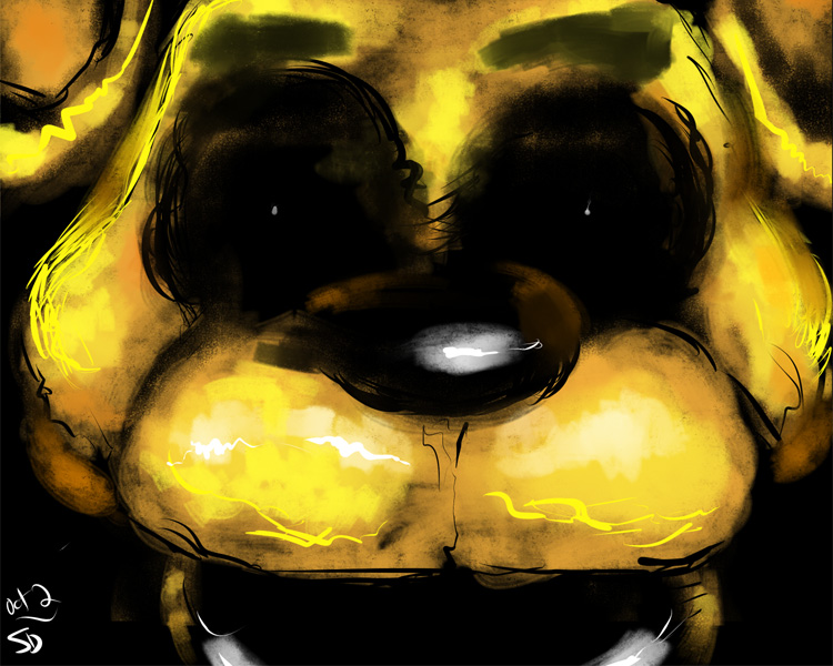 sketch of Golden Freddy from the terrifying  5 Nights at Freddy's video game
