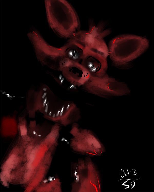 sketch of Foxy the Pirate from the terrifying  5 Nights at Freddy's video game