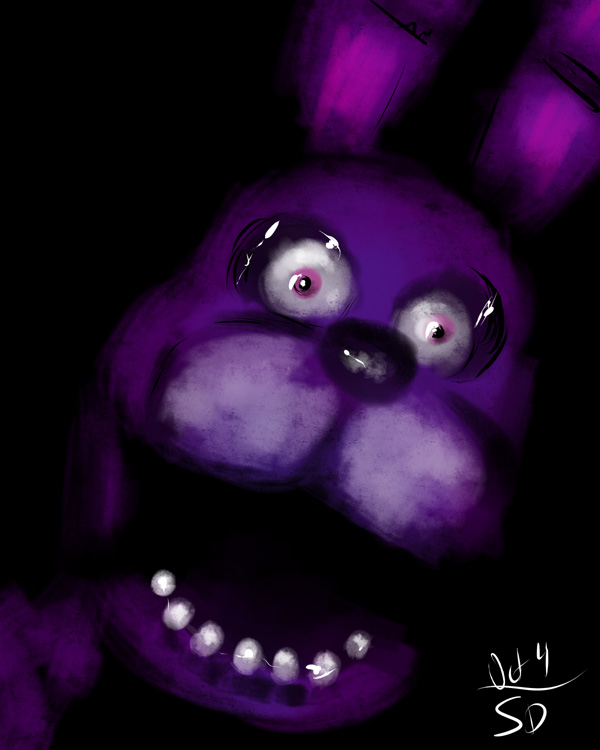 sketch of Bonnie Bunny from the terrifying  5 Nights at Freddy's video game