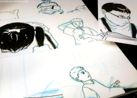Spread of inked pages in progress from The Stone Squirrel