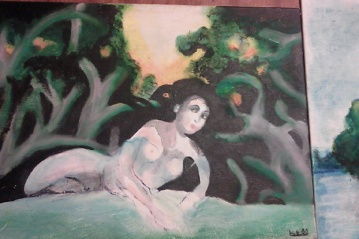 """""""Dryad,"""" acrylic and oil pastel on canvas, 2000. This did not end up being in the show! Poor Dryad covered in black paint."""