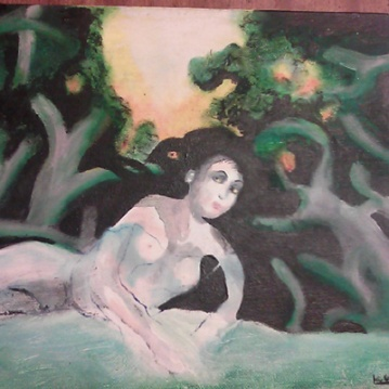 """Dryad,"" acrylic and oil pastel on canvas, 2000. This did not end up being in the show! Poor Dryad covered in black paint."