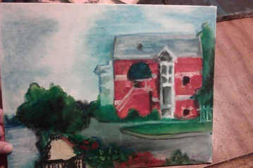 """""""View from the Riverfront,"""" oil pastel on canvas early 2000s for a plein air event"""