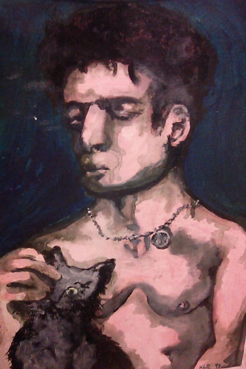 """""""Purr,"""" acrylic on canvas 1996-7. I saw him in a perfume ad or something and painted him for practice (...or tried)"""