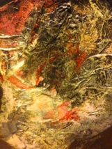 """""""Unearthly Aspect,"""" detail. I decoupaged layers of colored tissue paper onto the painting, then did thin washes of black paint."""
