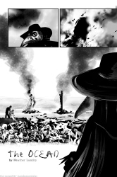 A plague doctor calmly surveys a mass grave of plague victims as well as a couple of scapegoats being burnt at the stake. Page from the comic The Ocean by Heather Landry
