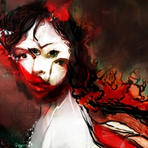 Gorgo Mormo, 16x20 canvas print + ink or 8x10 framed print