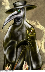 A colored portrait of a plague doctor callously nudging away a sufferer of the plague that clutches at his waxed robes while the smoke of his censer frames them