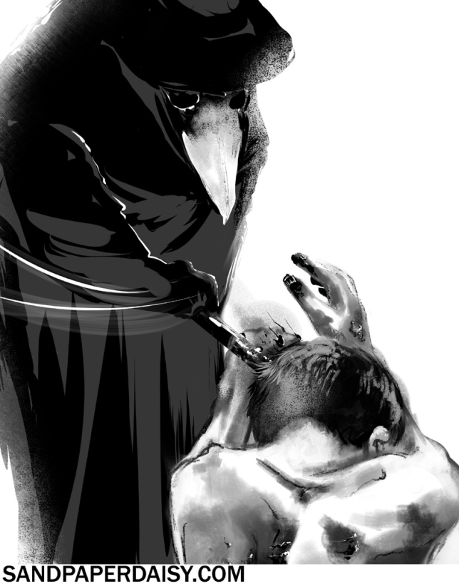 A black and white depiction of a plague doctor brusquely pushing away a dying plague victim, a panel from the comic The Ocean by Heather Landry