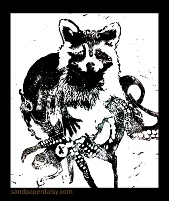 matted tentacle raccoon print_sandpaperdaisy