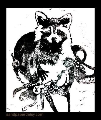 matted tentacle raccoon print_sandpaperdaisy