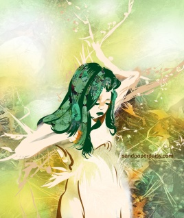 a dryad or tree spirit surrounded by leaves branches and berries