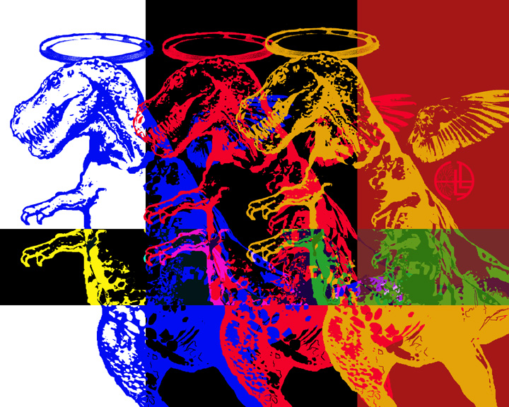 multiple angel rexes cascading in rainbow colors