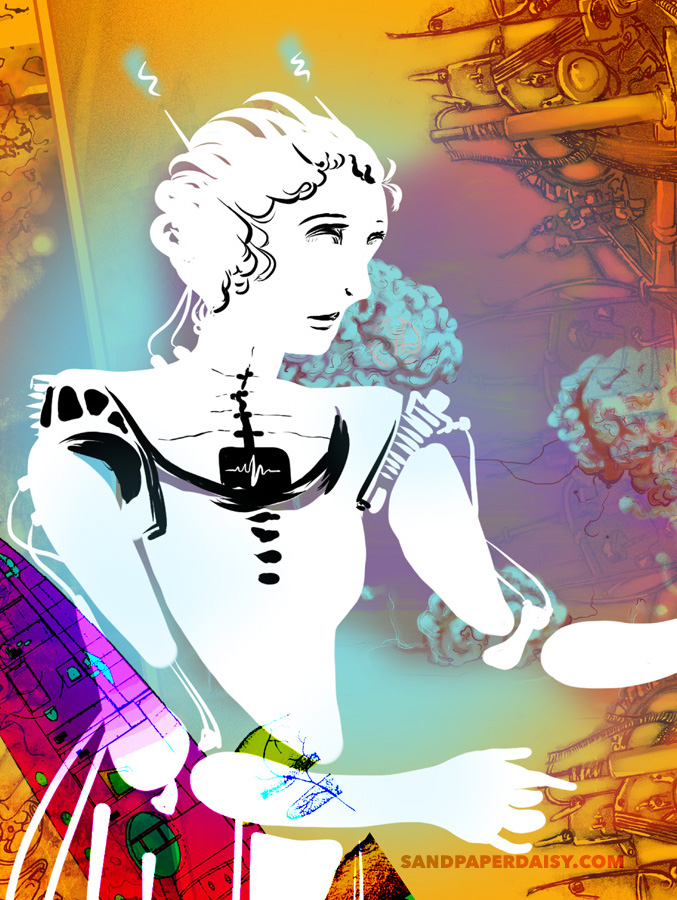 anime style robot girl against a rust-rainbow colored background of machinery