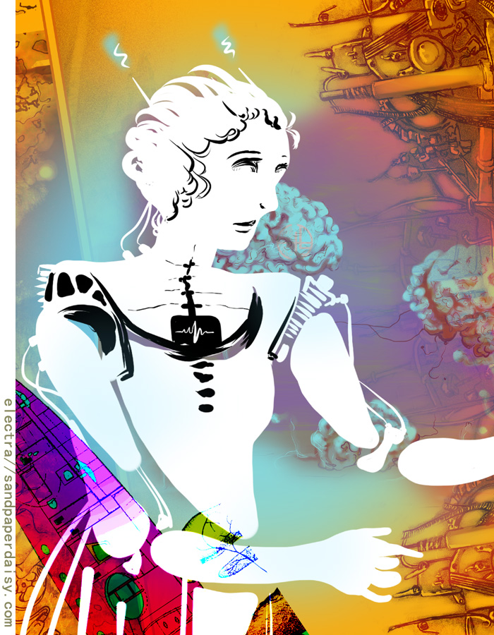 a robot girl against a brilliant rust-rainbow background of machinery