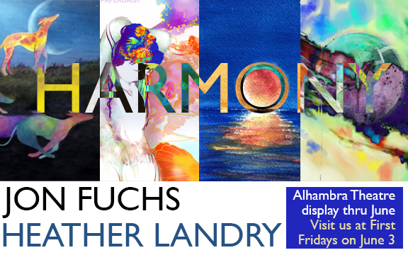 flyer for art show with heather landry and jon fuchs at alhambra theatre evansville features prismatic watercolors and bright digital art
