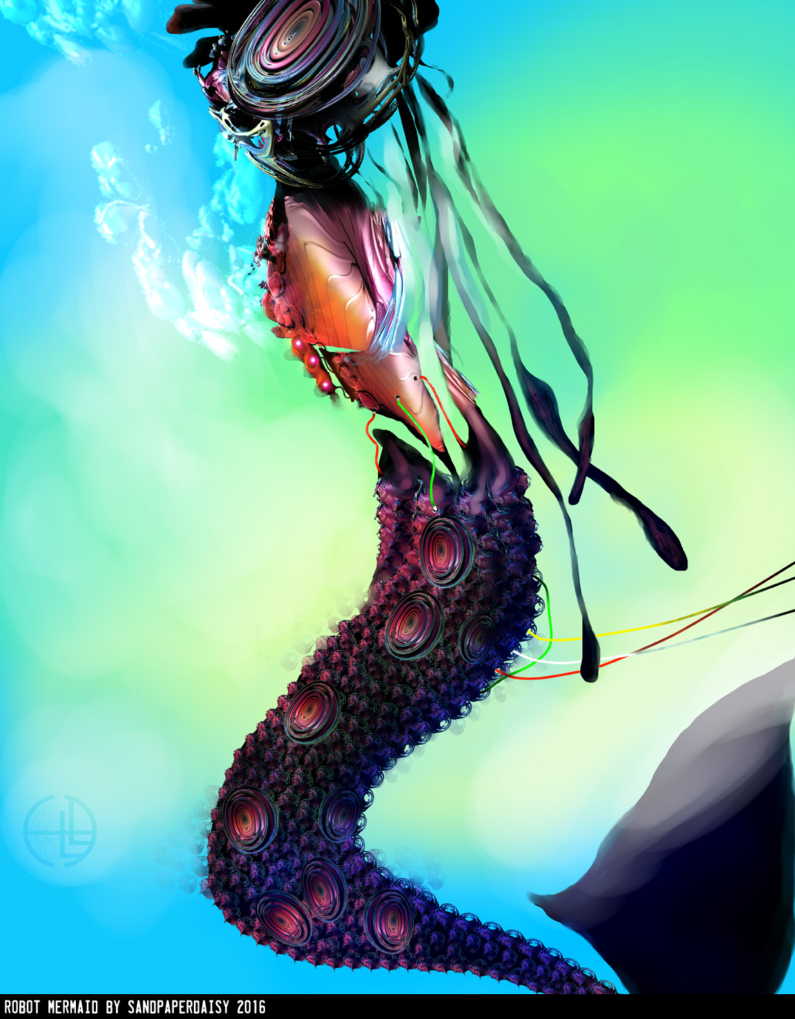 a robot mermaid made of speakers to lure sailors, image made of fractals. Variously credited to heather landrey aka sandpaperdais and heather landry aka sandpaperdaisy