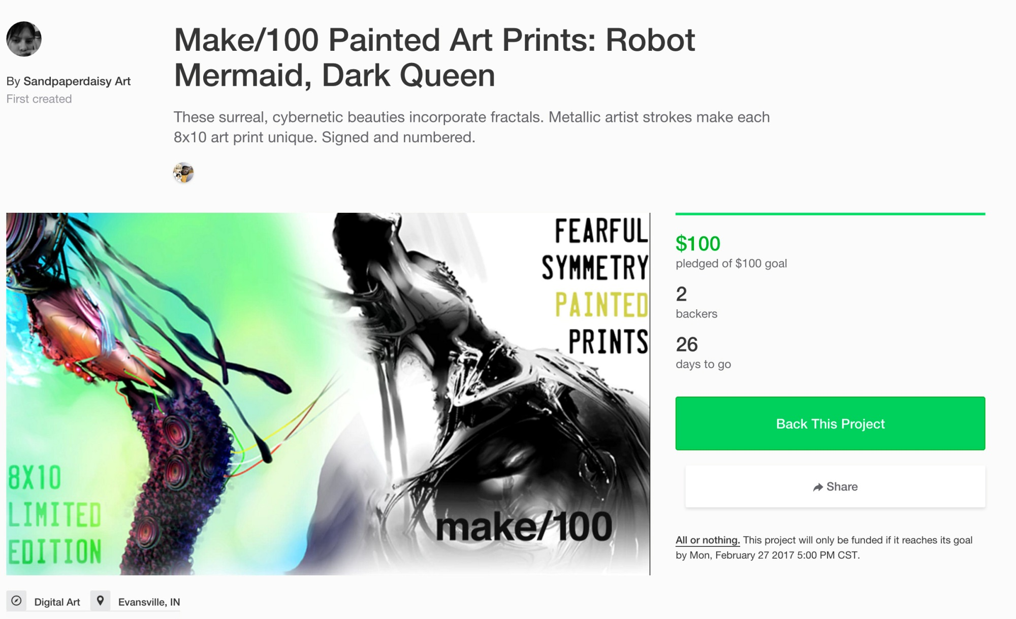robot mermaid dark queen kickstarter archival paint print sale cyborg fractal surreal women legend fantasy