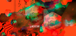 A field of hexagons and abstract shapes on crimson with emerald and black highlights.
