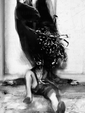 Frontispiece to Behold the Void by Philip Fracassi, depicting a supine man with black smoky horses, eyes and spiders erupting from his shattered face.
