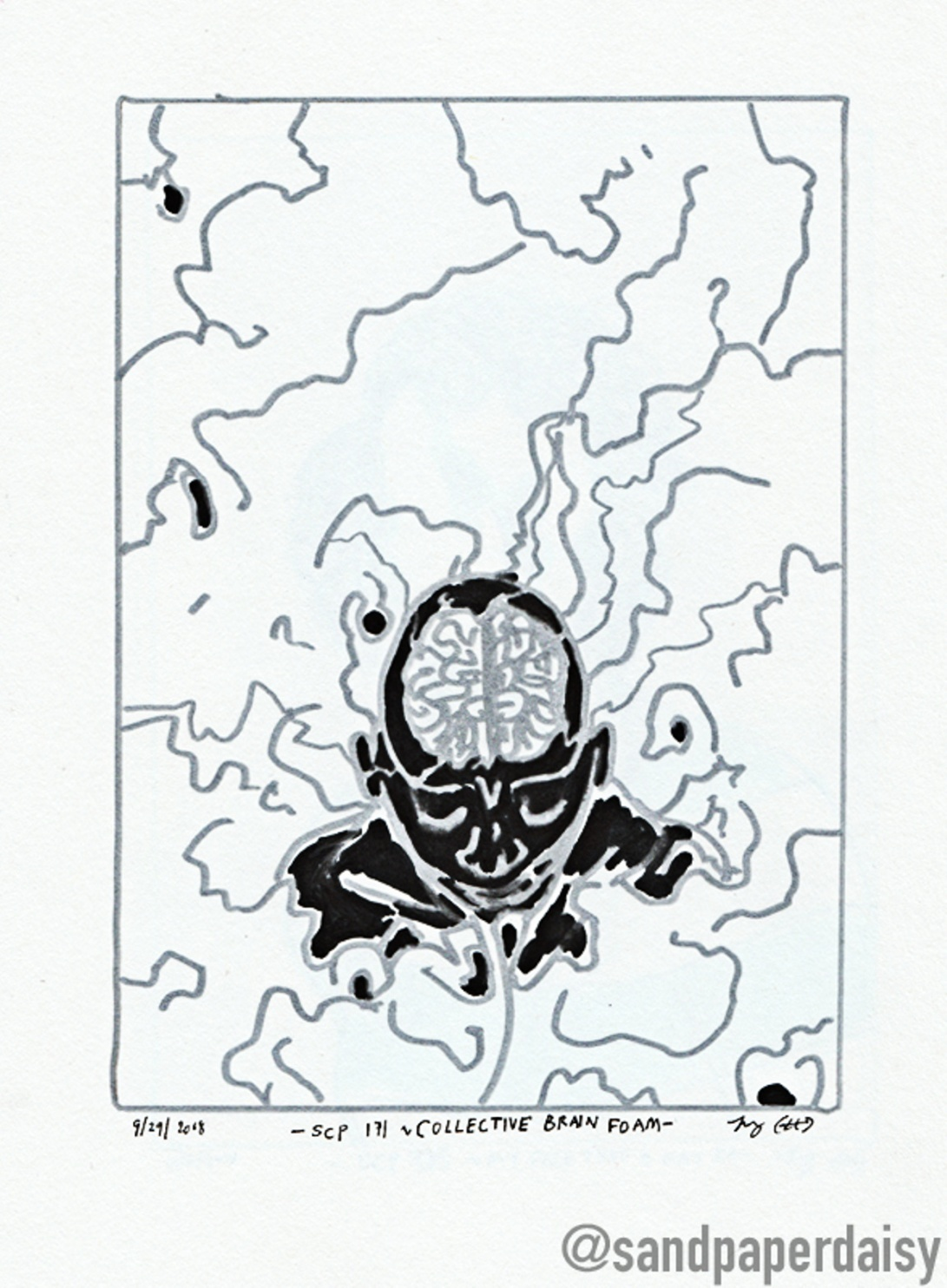 inktober07_SCP171-Collective-Brain-Foam_sandpaperdaisy