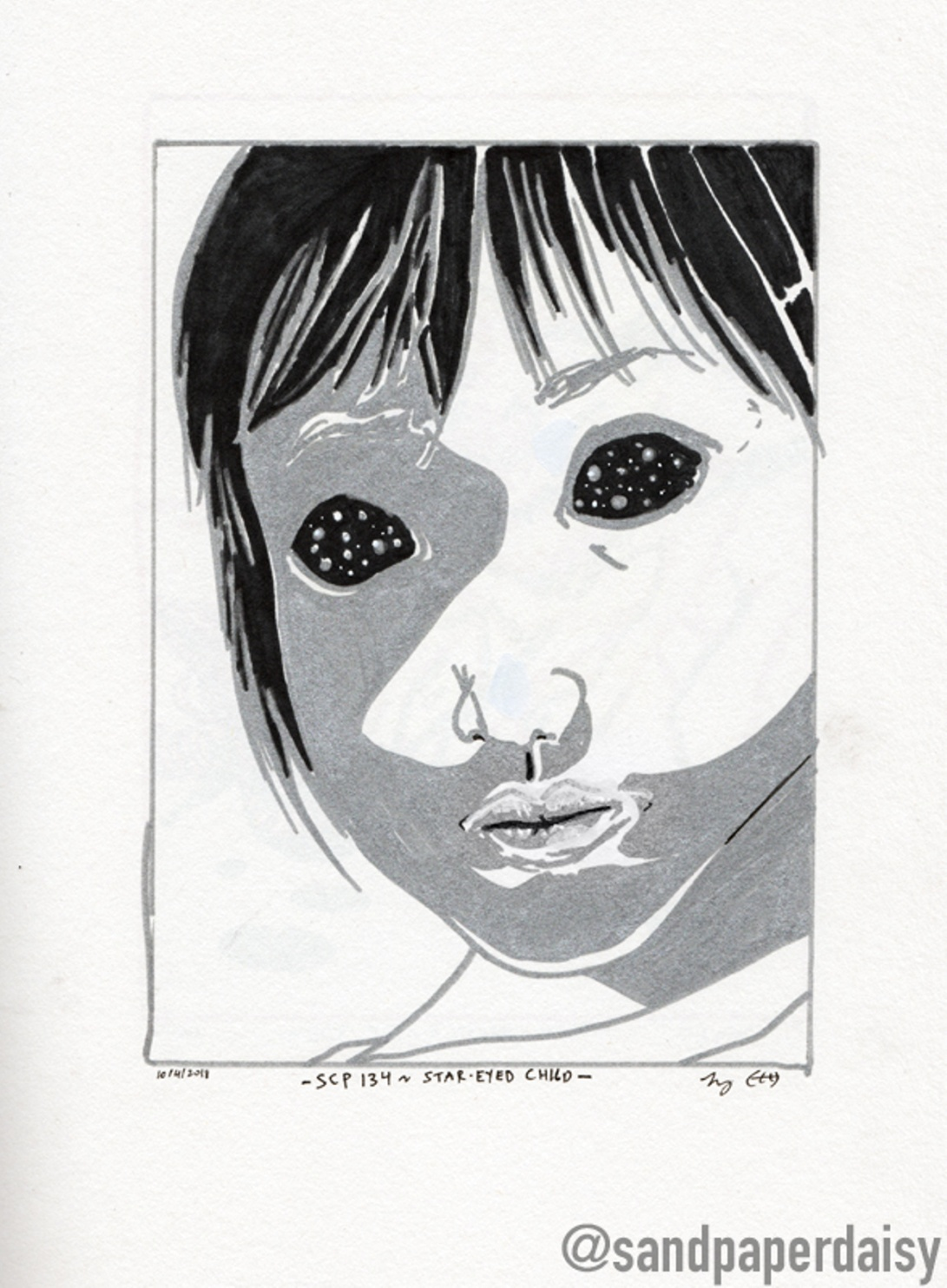 inktober10_SCP134-Star-Eyed-Child_sandpaperdaisy