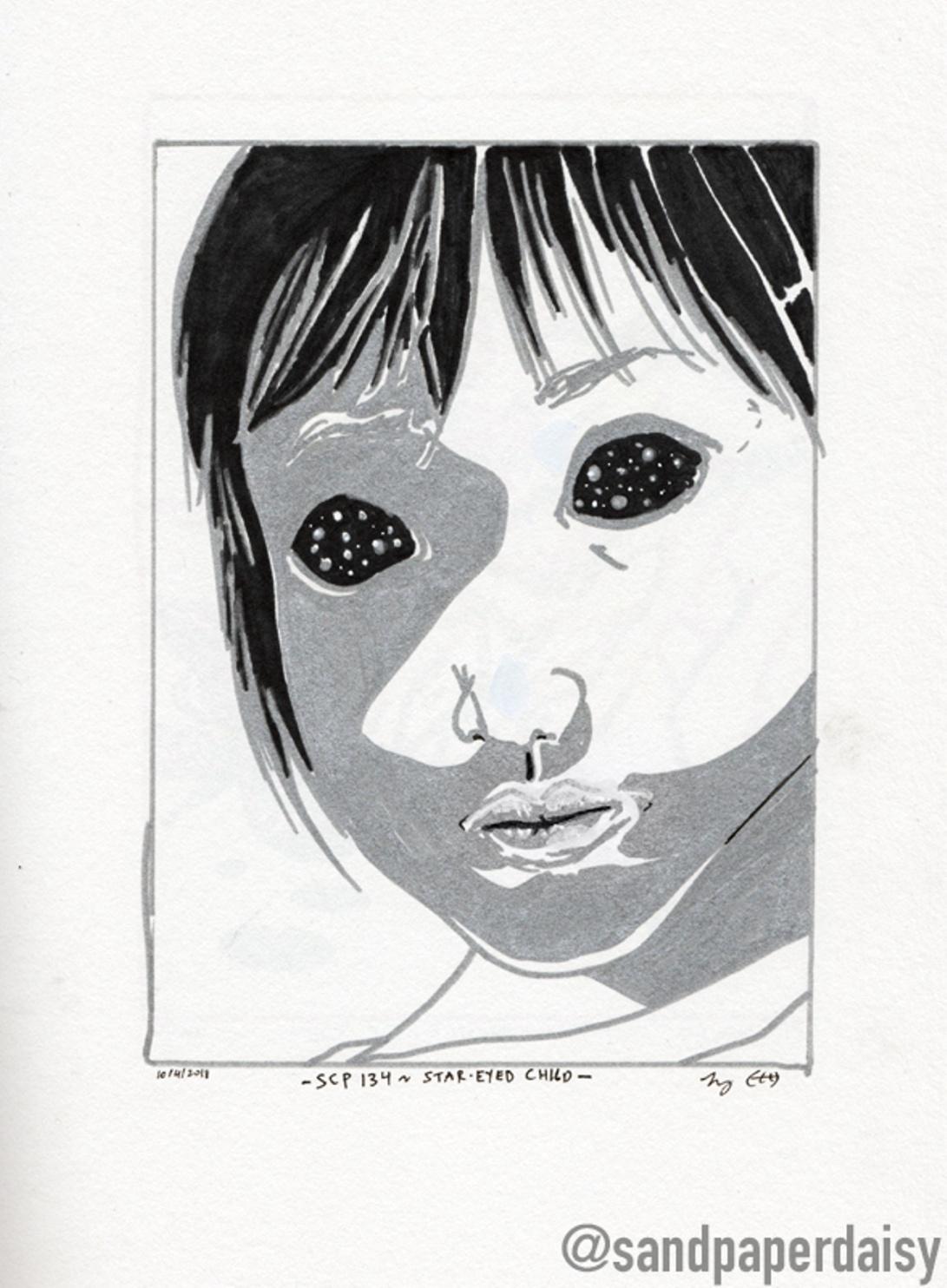 inktober10_SCP134-Star-Eyed-Child_sandpaperdaisy