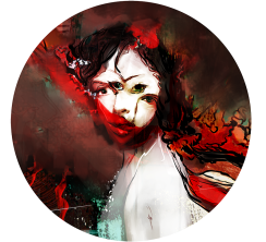 An eerie depiction of a woman possessing four offset eyes.