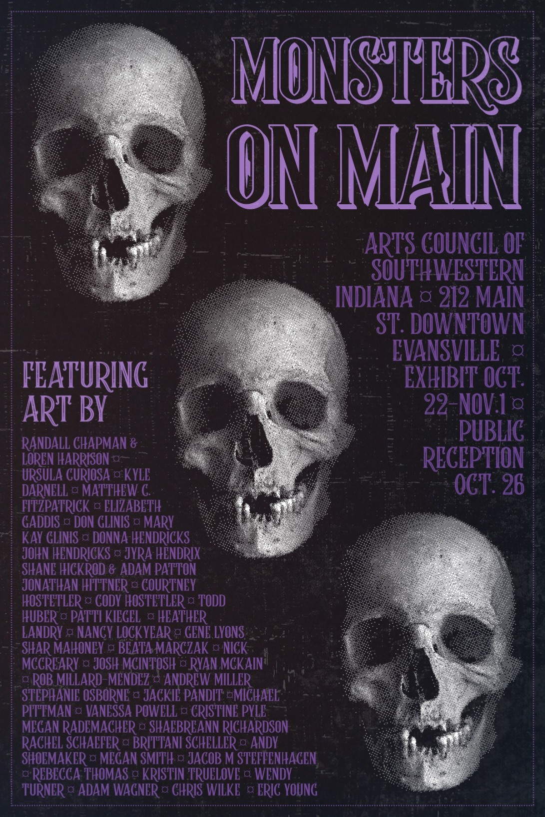 The show poster for Monsters on Main, a monster themed art show held by the Arts Council of Southwestern Indiana in autumn 2019