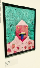 A 2d painting drawing depicting a red creature with a triangle hat and blue forked tongue wearing a shirt with a strawberry pattern and surrounded by an aqua swirling field of cartoon characters from American pop culture such as beetlejuice, bart simpson and others by artist Andrew Miller