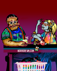 Warren the hipster werewolf and Tea the hippy vampire witch talking at a table with Kosey the kitty in the foreground in a laundry basket. Art for the HorrorFam.com podcast by sandpaperdaisy.