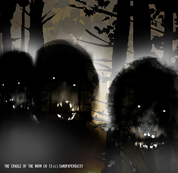 Three inhuman and ravenous looking figures against a foggy forest. From the Cradle of the Worm free novel by author and artist Heather Landry.