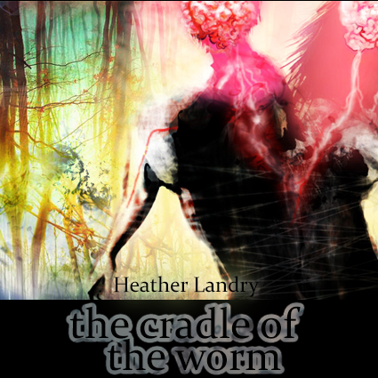 A towering giant consisting of a man and woman fused back to back like the original conception of Ha-Adam, humankind. Set against a glowing forest hanging inverted from an enormous swollen moon. An illustration for the cover of The Cradle of the Worm, a fantasy horror novel by the artist of the piece, Heather Landry