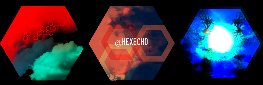 Three hexagons on a black field, each containing abstract elements like clouds, fractals, and shapes.