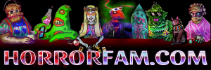 The official banner for HorrorFam.com featuring a werewolf, tentacle man, vampire witch, mutant ant, fish person, and Egyptian mummy and her cat.