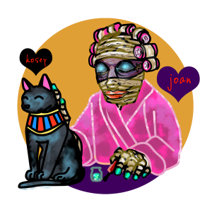Portrait of Joan the mummy in a pink bathrobe and curlers, doing her nails while petting Kosey her cat, reminiscent of sculptures of the Egyptian goddess Bast. Art for HorrorFam.com by sandpaperdaisy.