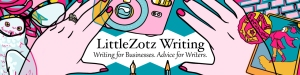 Banner art for LittleZotz.com by sandpaperdaisy, depicting important objects in Lauren Spear's life such as an owl, a camera, nail polish, tarot cards, pens, pencils and a keyboard.