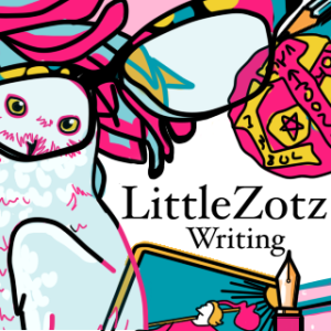 Icon art by sandpaperdaisy for LittleZotz Writing, depicting items important to Lauren Spear such as an owl, cats eye glasses, a zotz coin, a pen and the Fool tarot card.