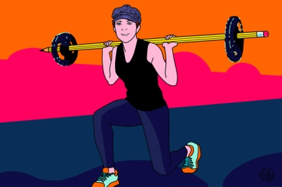 Art by sandpaperdaisy for LittleZotz Writing, depicting writer and fitness afficonada Aurora Smith as she stays healthy by lifting weights while writing. The weights are on a giant pencil in lieu of a metal bar.