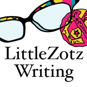 Icon art for LittleZotz writing drawn by sandpaperdaisy, showing Lauren Spear's cats eye glasses and her zotz coin.