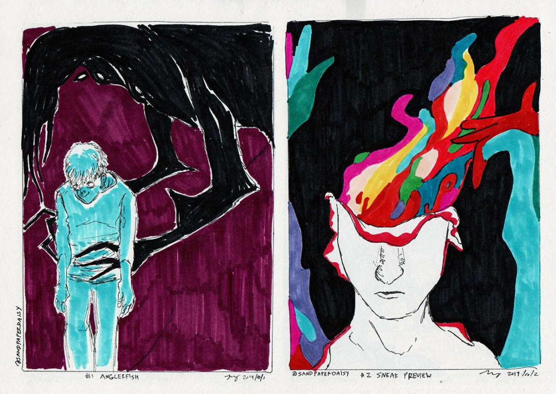 two ink drawings based on The Magnus Archives: one from their episode Anglerfish and one from their episode Sneak preview, showing a monster holding a simulacrum of a human, and a young man's skin slipping down to reveal a column of colors, respectively.