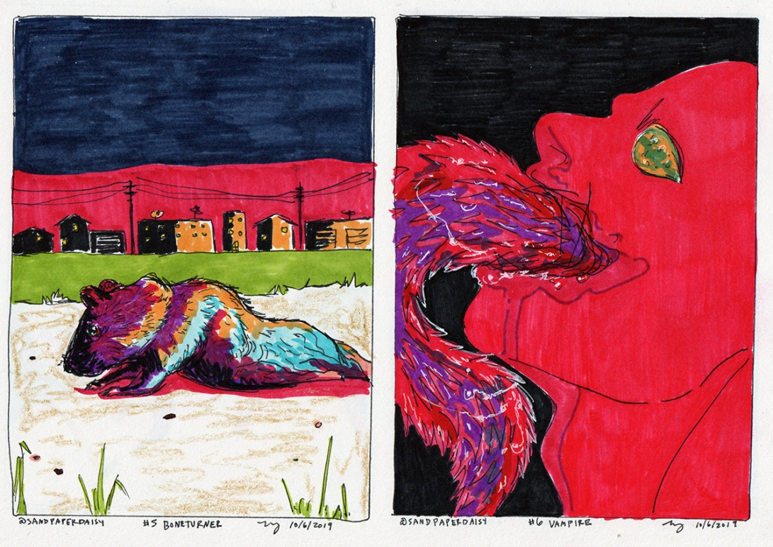 Two ink and marker drawings depicting the Magnus Archives Bone Turner and Vampire episodes. A luridly lit rat missing the bones of its back legs crawls through an empty sunset industrial town, while a nighmarish monster with a huge, twisting barbed tongue rears back, respectively.