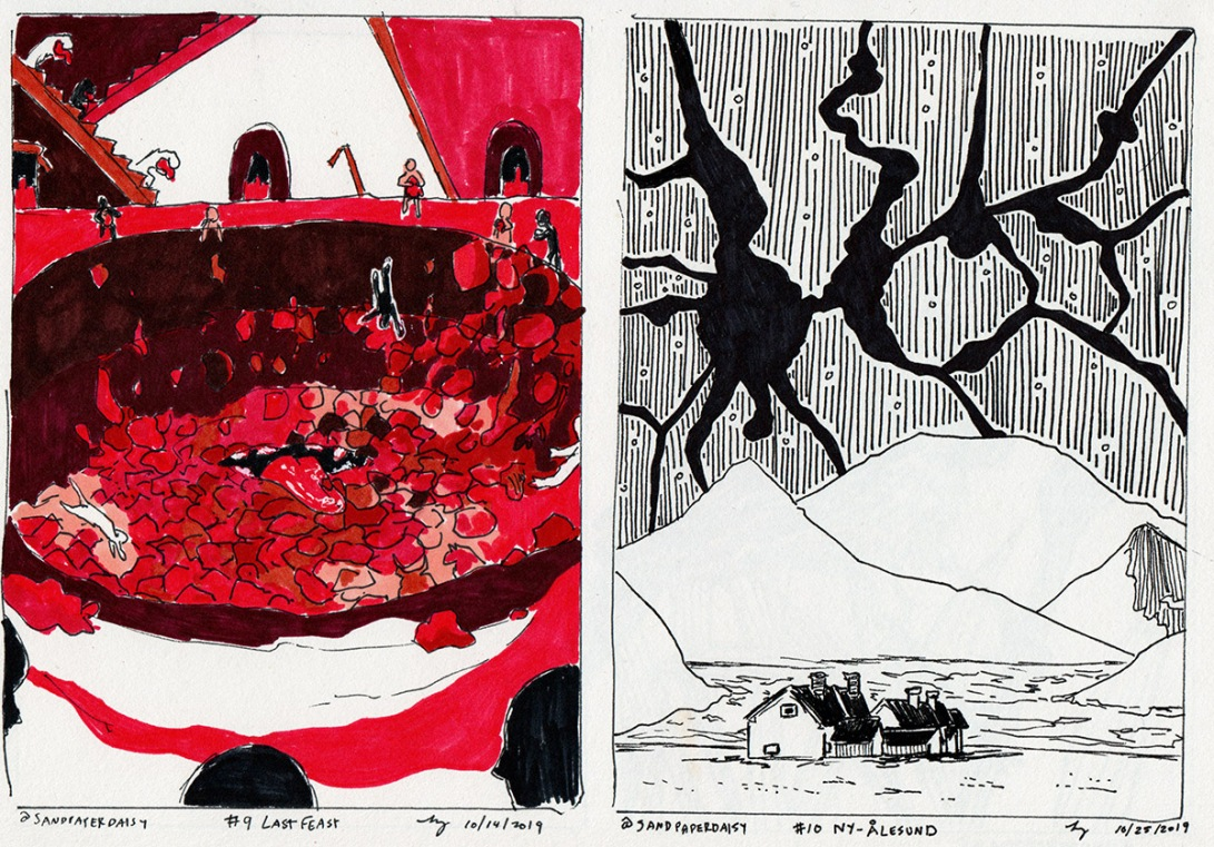 Two pen and ink drawings based on scenes from The Magnus Archives. The first is mostly red and depicts human figures throwing bundles of flesh of all sorts into a bottomless and hungry hole with a greedy mouth at the bottom, in a dimly lit temple. The second shows Ny Alesund, the northmost settlement in the world, under a starry sky cracking apart into pure blackness.