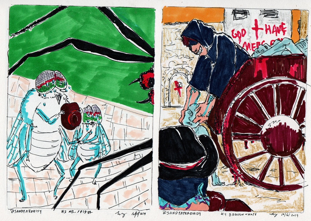 Ink and marker drawings depicting the Magnus Archives episodes A Guest for Mr Spider and the recurring Magnus characters Breekon and Hope. Two sobbing flies are encroached upon by the greedy legs of an immense black spider off panel, as in the other image two sinister strangers heft blue corpses into their wagon during the plague years.