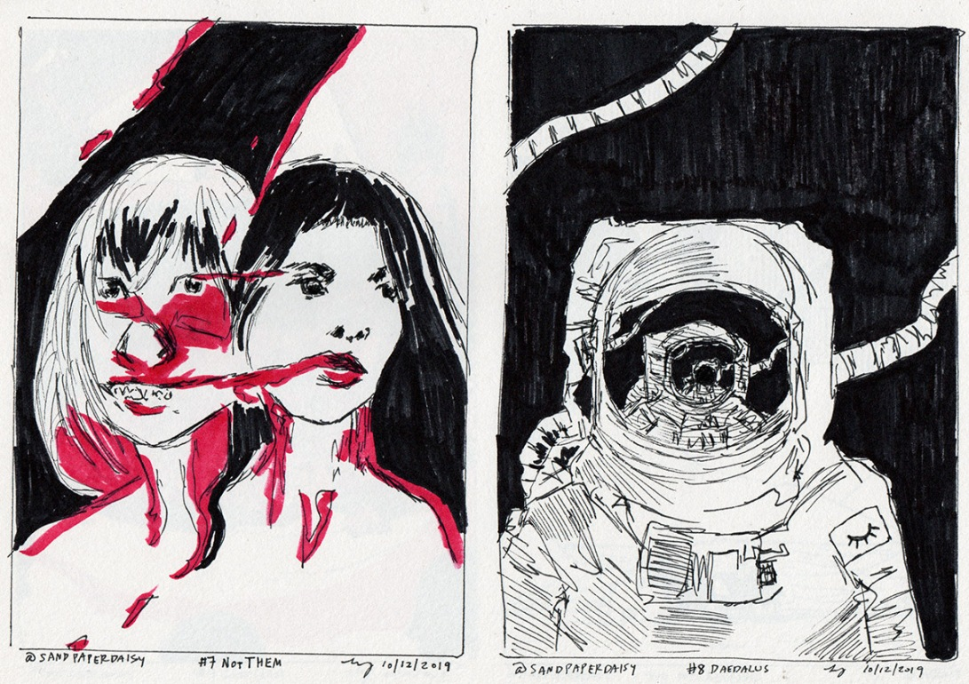 Two ink and marker drawings based on the Magnus Archives character of the NotThem and an astronaut seen from the Daedalus space station. A twisted form consisting of two different women are next to an astronaut with that same astronaut infinitely reflected in his or her helmet, against a pure black background with no stars whatsoever.
