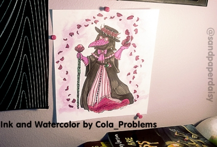 A magical girl style plague doctor drawn and painted by artist Cora Dean of Cola_Problems