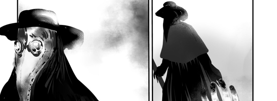 An excerpt from the comic The Ocean by Heather Landry, a comic about the black plague of 1348, depicting a plague doctor and the imploring necrotic hand of a plague victim.